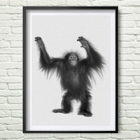 Monkey Print, Nursery Animal Wall Art, Monkey Poster Art, Black and White Nursery Decor, Safari African Animal Print, Nursery Poster *114*