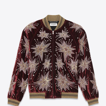 Saint Laurent Starburst Teddy Jacket In Bordeaux Velour | ysl.com