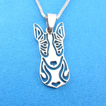 Detailed Bull Terrier Dog Face Shaped Cut Out Pendant Necklace in Silver | Animal Jewelry