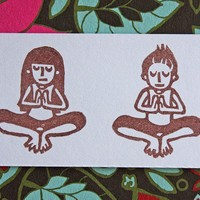 Hand Carved Yoga Girl and Boy Stamp