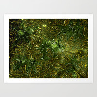 The Wolves Hidden in the Jade Green Galaxy Art Print by Distortion Art