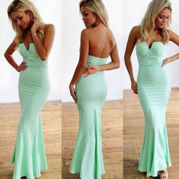 Sweetheart Mint Green Sheath Long Prom Dresses