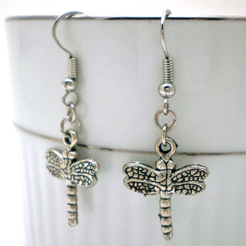 Dragonfly Earrings - Simple Silver Dangle on Fish Hooks