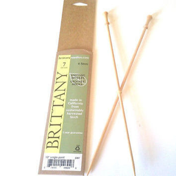 "Brittany Wood Knitting Needles 10"" Single Point Size 7 or 4.5 mm"