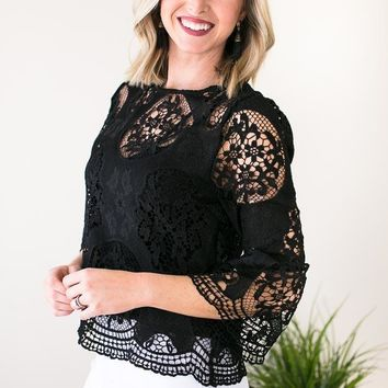 Well Dressed Lace Bell Sleeve Top