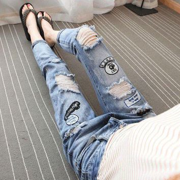 ac ICIK83Q Jeans Korean Ripped Holes Plus Size Slim Baggy Jeans Cropped Pants [45274365977]