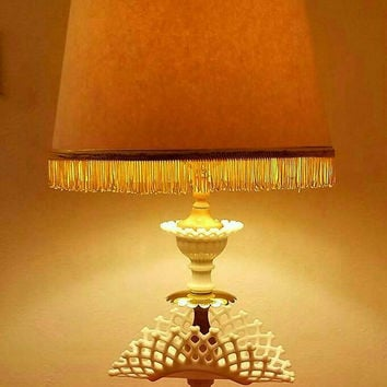 Vintage Westmoreland Milk Glass Lamp in  Basket Weave Pattern Very Unique and Rare.