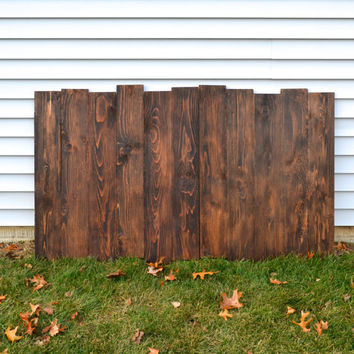 Staggered Reclaimed Wood Shabby Chic Headboard / Wall Art - Dark Walnut