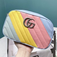GUCCI New fashion multicolor leather chain shoulder bag crossbody bag
