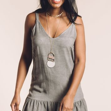 Hearts in the Sand Dress in Grey