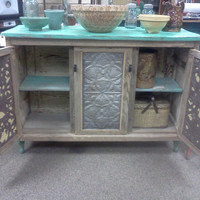 CUSTOM MADE  Country Kitchen Island made from vintage wood door and salvaged ceiling tin