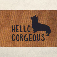 Hello Corgeous Corgi Welcome Doormat – Hand Painted Outdoor Rug – Corgi Lover, Funny Mat