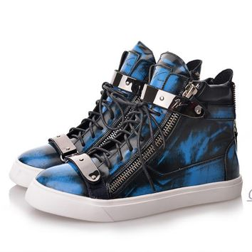 Indie Designs Giuseppe Zanotti Inspired Fluo Blue Satin  High Top Sneakers