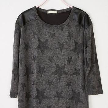 Grey Lucy Stars Knit Shirt