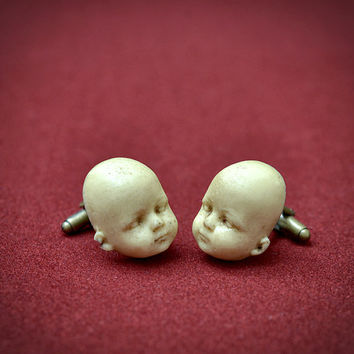 Doll Head Cufflinks - Scary Hand made resin cuff links
