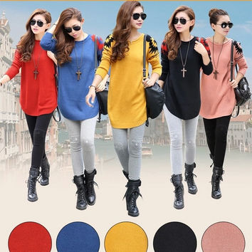 Women Long Sleeve Loose Knitted Jumper Sweater Round Neck Pullover Outerwear Top D_L = 1712803716