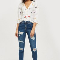 MOTO Rich Blue Super Ripped Jamie Jeans | Topshop