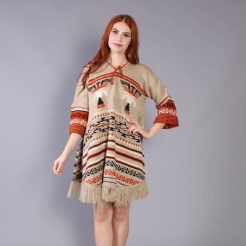 70s NATIVE Inspired SWEATER / 1970s Fringed Poncho Knit DRESS