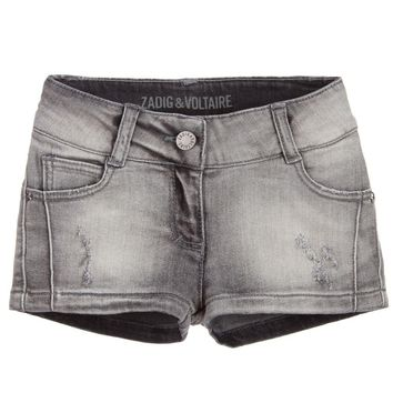 Zadig & Voltaire Girls Distressed Grey Denim Shorts