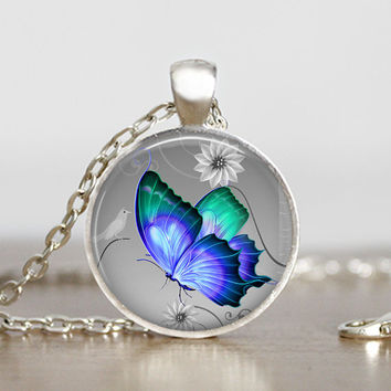 Butterfly Pendant necklace - Handmade Blue and Teal Butterfly Necklace - Round Glass Pendant