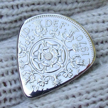 Custom Coin Guitar Pick  Handmade with a 1970 Two Shillings Proof Coin