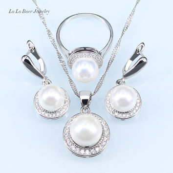 L&B New circles simulated pearl ball pendant long necklace women black chain fashion silver 925 jewelry sets