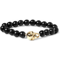 Luis Morais Yellow Gold Skull and Ebony Bead Bracelet | MR PORTER