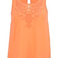 Plus Size - Cut Out Chiffon Top With Keyhole Back - Melon