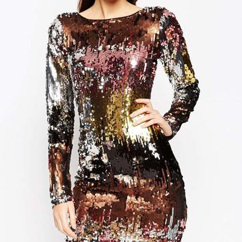 ASOS NIGHT Embellished Ombre Mini Dress