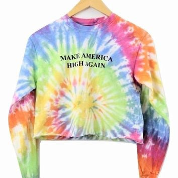 Make America High Again Pastel Rainbow Tie-Dye Long Sleeve Graphic Crop Top