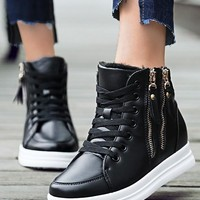Black Round Toe Zipper Fashion Ankle Shoes
