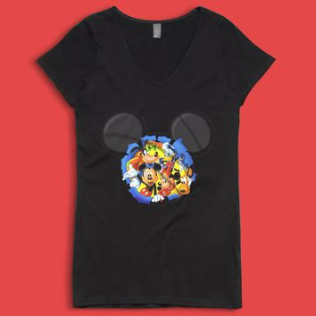 Disney Silhouettes Mickey Mouse And Frieds Women'S V Neck