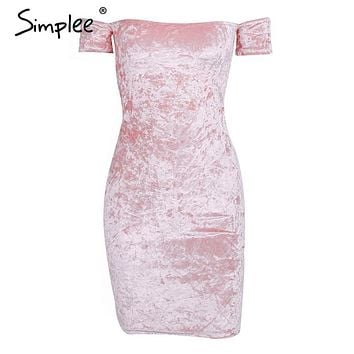 Off shoulder mini sexy dress women Fashion pink velvet short party dresses Casual dress