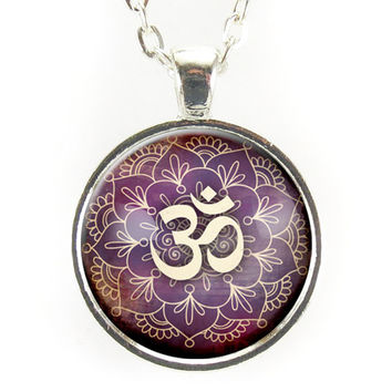 Purple Om Necklace