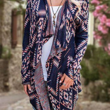 Dark Blue Collarless Long Sleeve Ethnic Print Cardigan