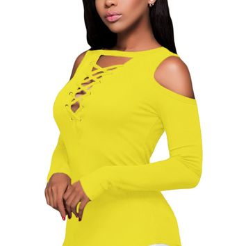 Chicloth Yellow Long Sleeve Cut-out Shoulder Ribbed Top