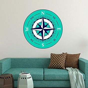 "Compass Wall Decals Travel Full Color Murals Nautical Vinyl Sticker Decal Sea Ocean Nursery Boys Bedroom Decor Art EN54 (10"" Tall x 10"" Wide)"