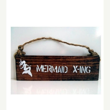 THANK YOU SALE Mermaid Crossing sign / mermaid xing/ anthropologie/ urban outfitters/ brandy melville/ mermaid sign / wall hanging / decor