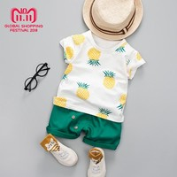 Summer Baby Girls Boys Clothes Pineapple Printed Children's Clothing Set Cotton T-shirt + Shorts Sport Toddler Boys Clothing Set