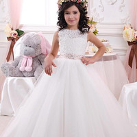 Girls Pageant Gown First Communion Dresses White A Line Lace Flower Girl Dress With Beaded Sashes