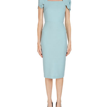 Roland Mouret Royston Cap-Sleeve Square-Neck Wool Sheath Dress