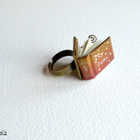 "Tiny Orange Book Ring ""My Diary"". Adjustable ring"