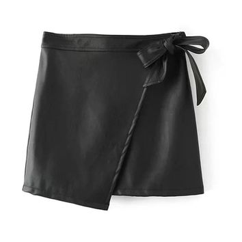 Black PU Leather Warp Mini Skirt Asymmetric Hem Women Tied High Waist A Line Office Ladies Bottoms