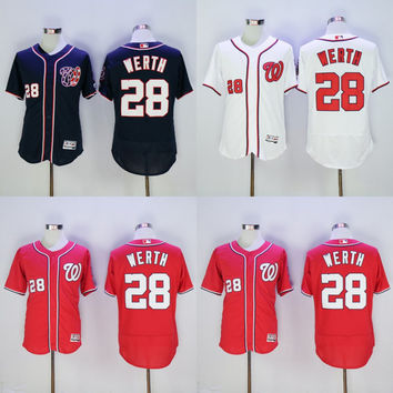 2016 NEW Flexbase Authentic Collection Team Men Washington Nationals 28 Jayson Werth baseball jerseys Stitched size S-3XL