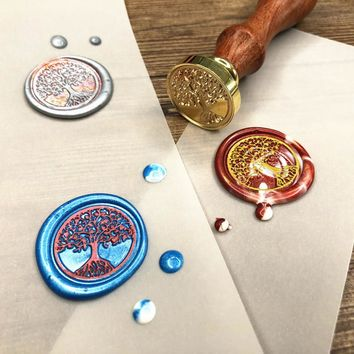 WHISM Brass Head Sealing Stamp Wood Handle Sealing Wax Stamp Wedding Invitation Wax Seal Stamp Christmas Stamps for Scrapbooking