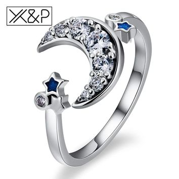 X&P Fashion Charm 925 Silver Crescent Moon Star Dazzling Open Finger Rings for Women Wedding Engagement Adjustable Ring Jewelry
