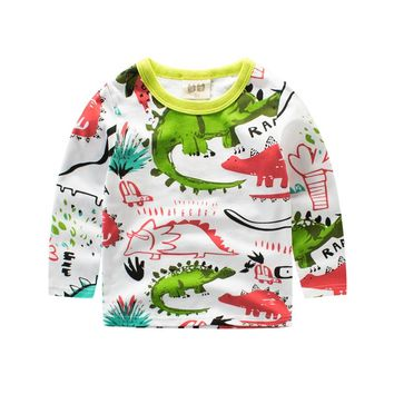 Long tshirt for boy baby girl long sleeve tops funny dinosaur girls t shirt Children's clothing boys t-shirt kids clothes shirts