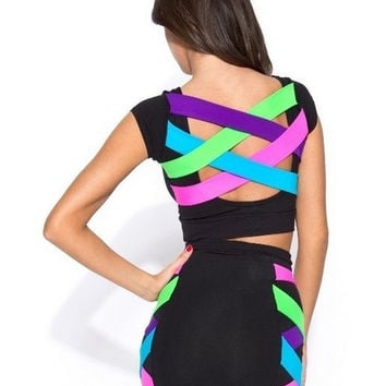 Sleeveless Stripes Crisscross Cutout Midi Bodycon Dress