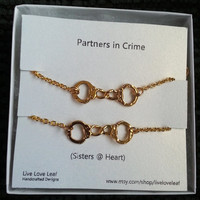 Partners in crime matching Bracelets for sisters, Gold Handcuffs Bracelet, handcuffs charm bracelet, love bracelet handchain BFF jewelry