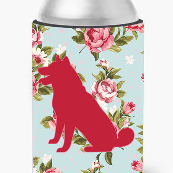 Shiba Inu Shabby Chic Blue Roses Can or Bottle Beverage Insulator Hugger BB1113